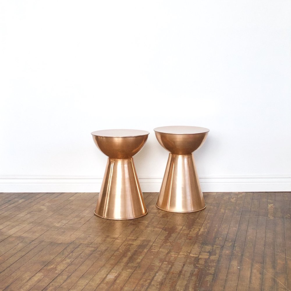"Copper Side Table    $76 set    1'4"" across, 2'10"" high"