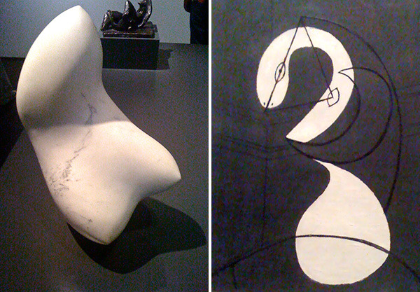 Three Buds by Jean Arp and Figure by Pablo Picasso