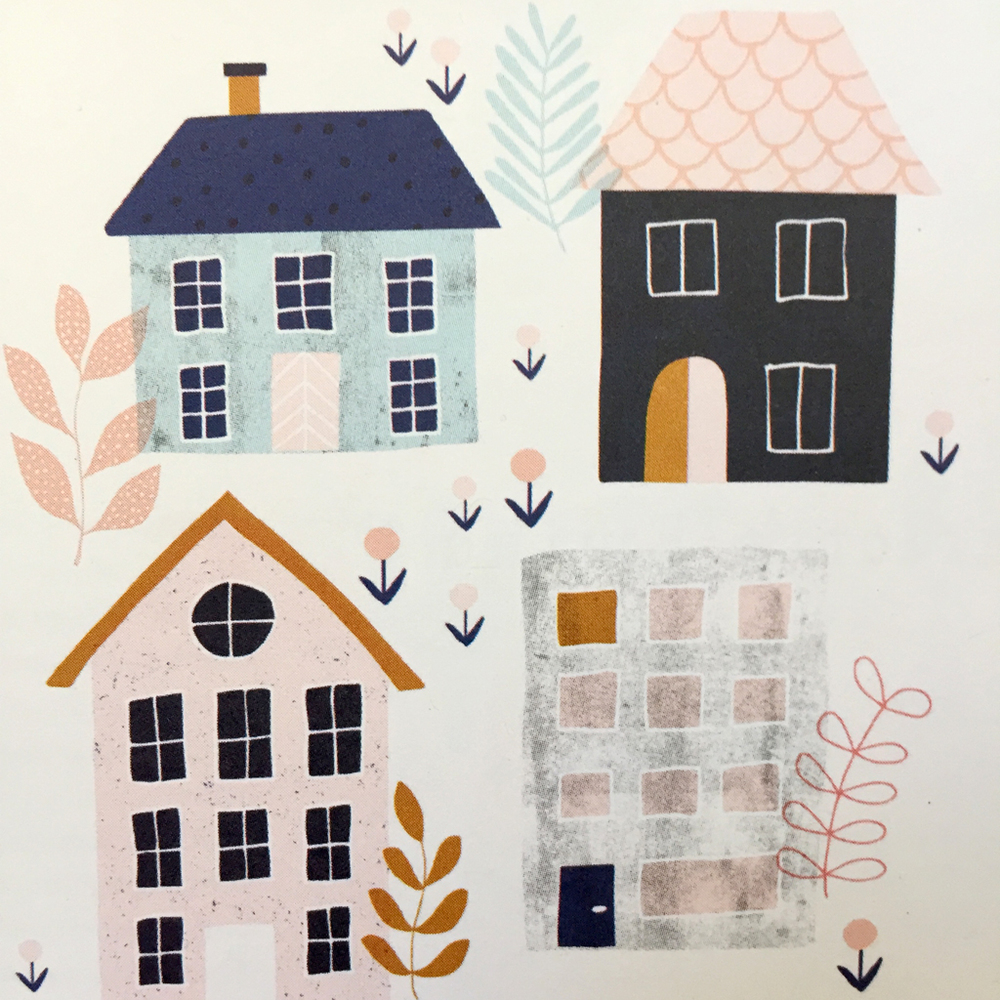 I have a soft spot for houses :). Really love the delicate color palette combined with strong contrast in this piece by Cathy Westrell Nordstrom.