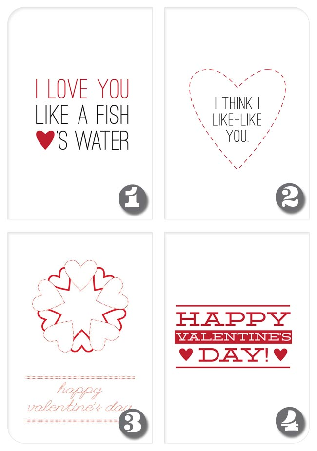 DIY Roundup - Free Printable Valentine's Day Cards