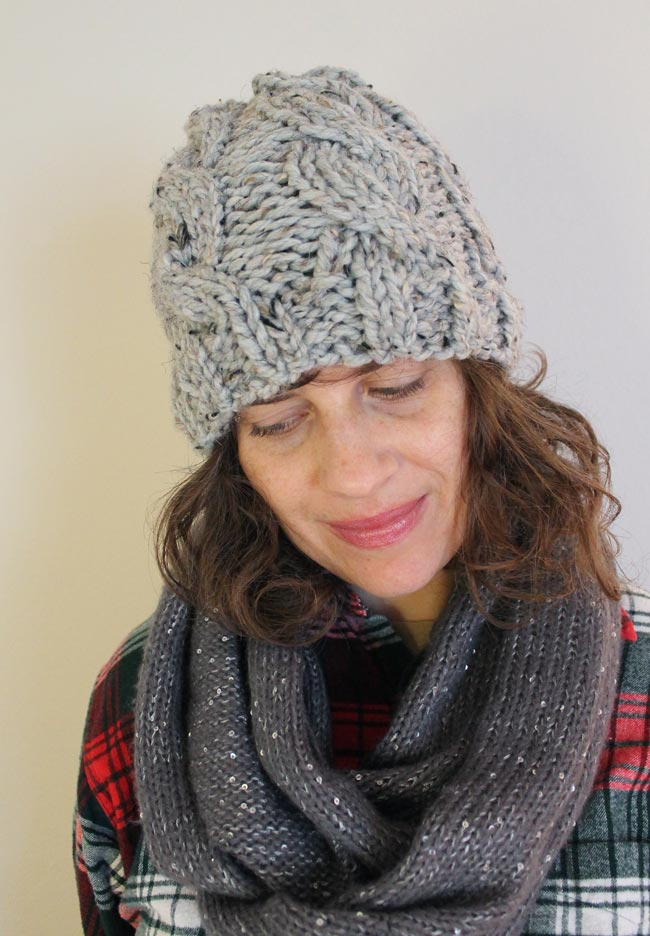 Chunky Cable Knit Hat with Free Pattern   Sew DIY
