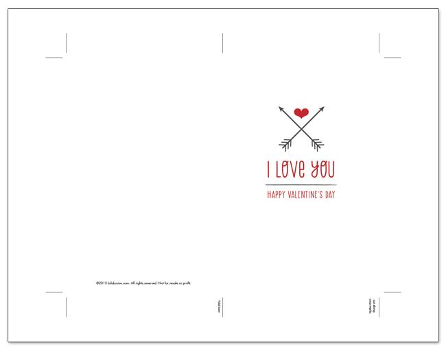 Free Printable  Crossed Arrows Valentine  Sew DIY