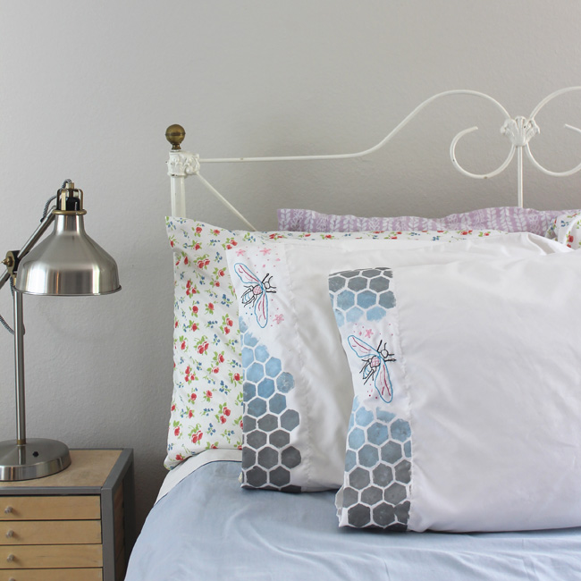 Ombre Stenciled Pillowcases