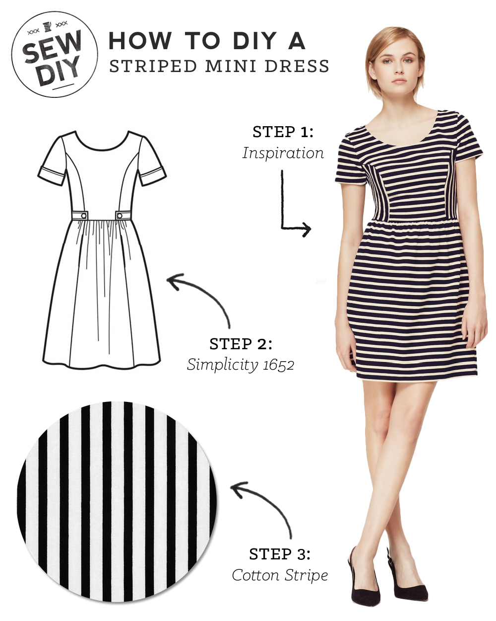 DIY Outfit – Striped Mini Dress — Sew DIY