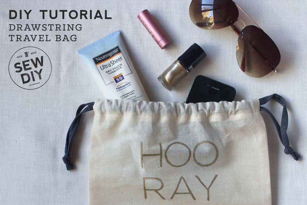 DIY Tutorial – Drawstring Travel Bag with Free Design Template ...
