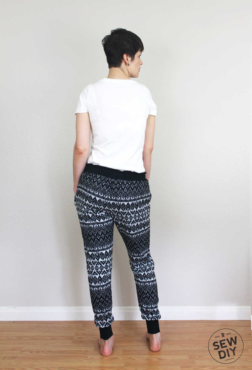 DIY Fair Isle Sweater Knit Hudson Pants Outfit Back