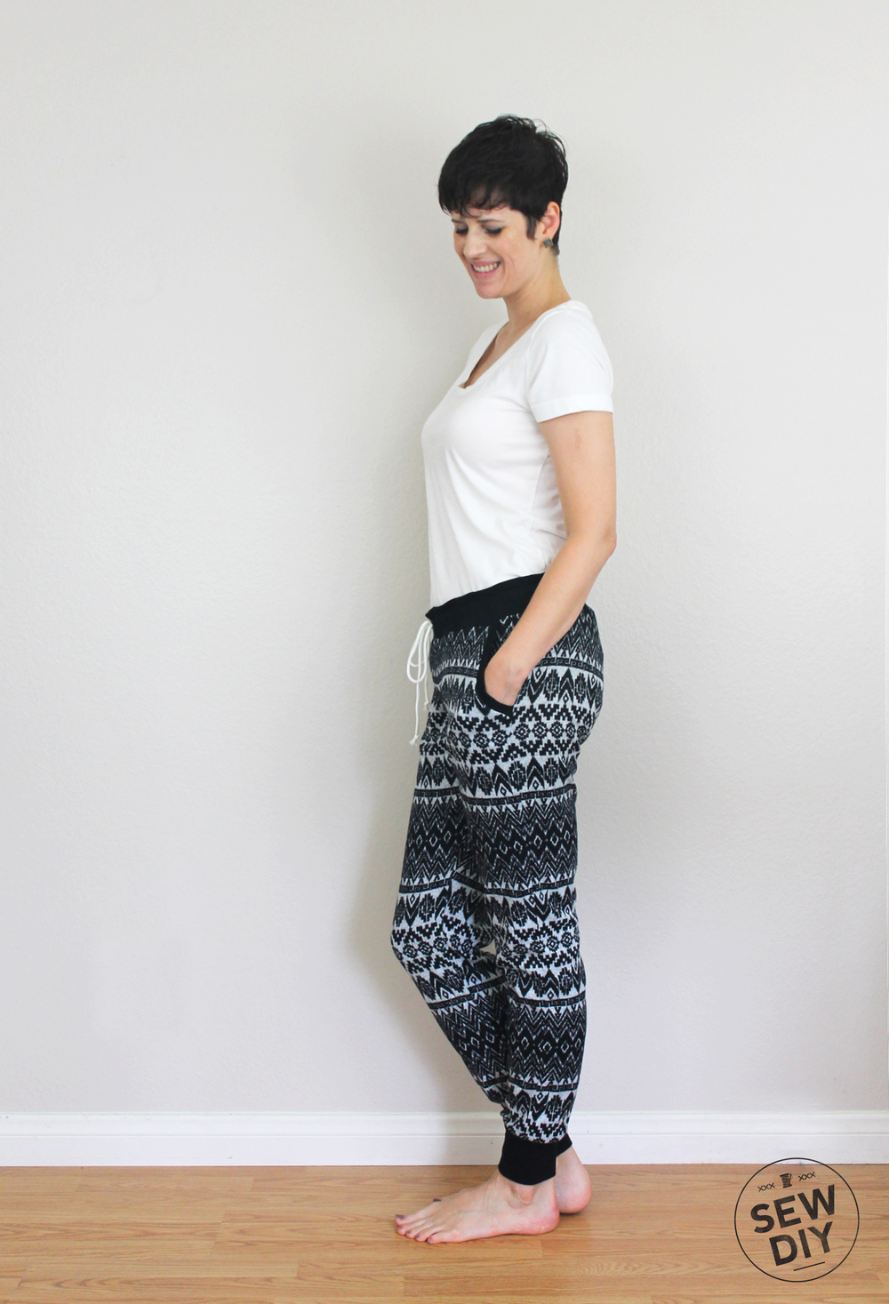 DIY Fair Isle Sweater Knit Hudson Pants Outfit Side