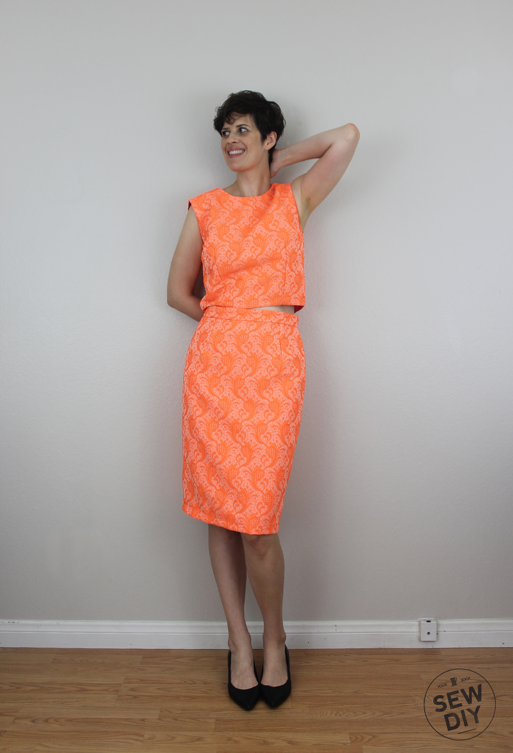 Sew DIY Neon Orange Brocade Pencil Skirt