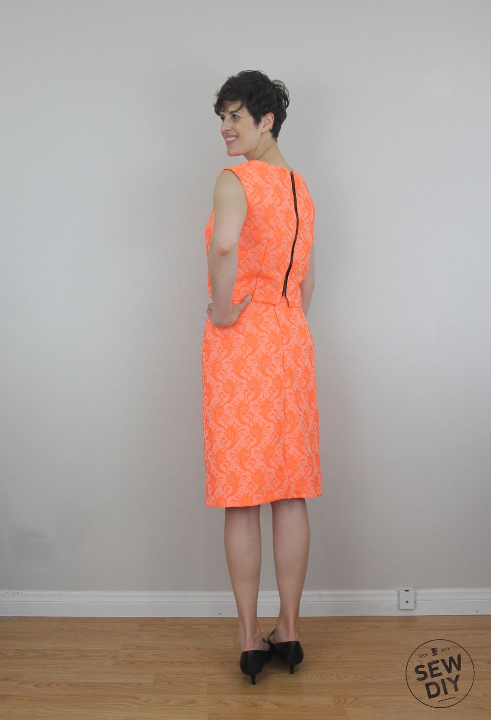 Sew DIY Neon Orange Brocade Pencil Skirt Back