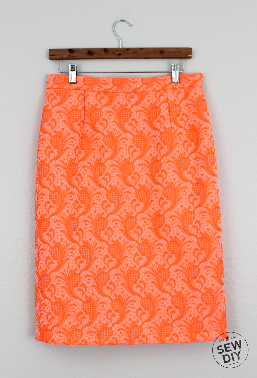 Sew DIY Orange Brocade Skirt Front