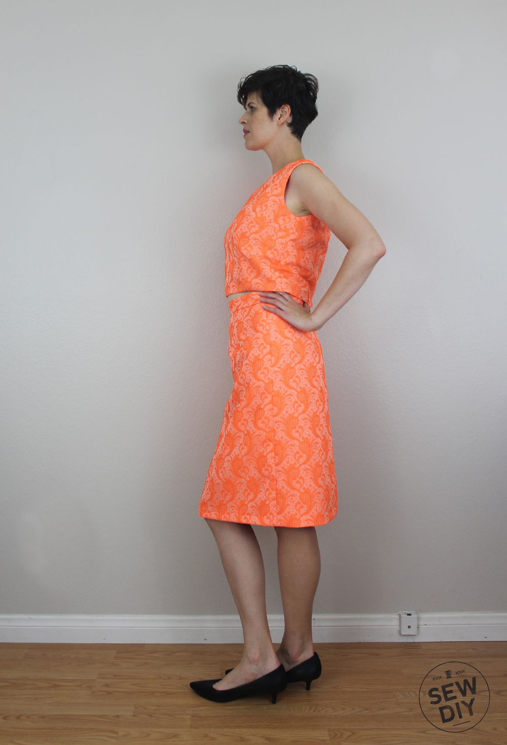 Sew DIY Orange Brocade Two Piece Setacular
