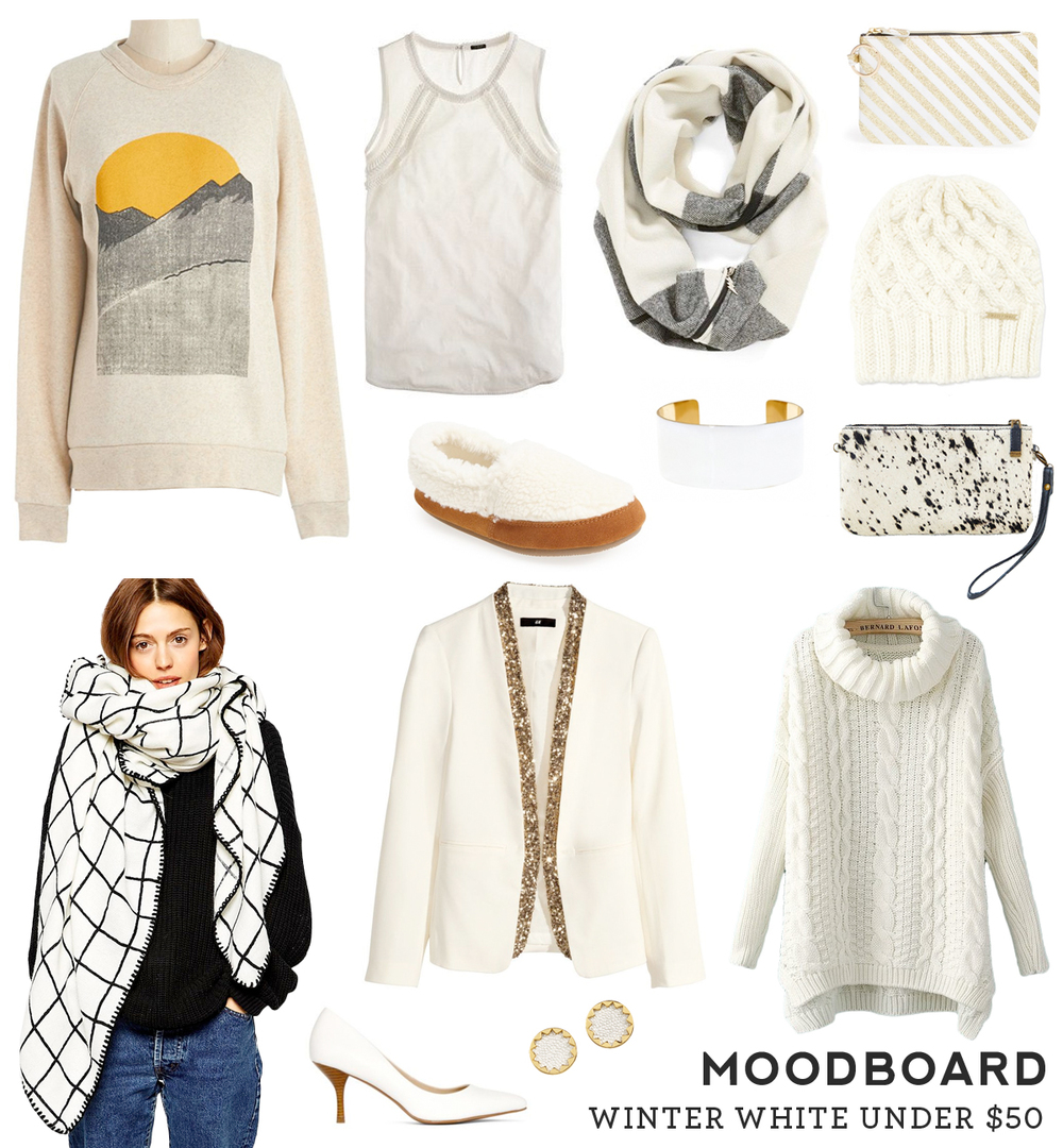 Moodboard – Winter White under $50 from Sew DIY