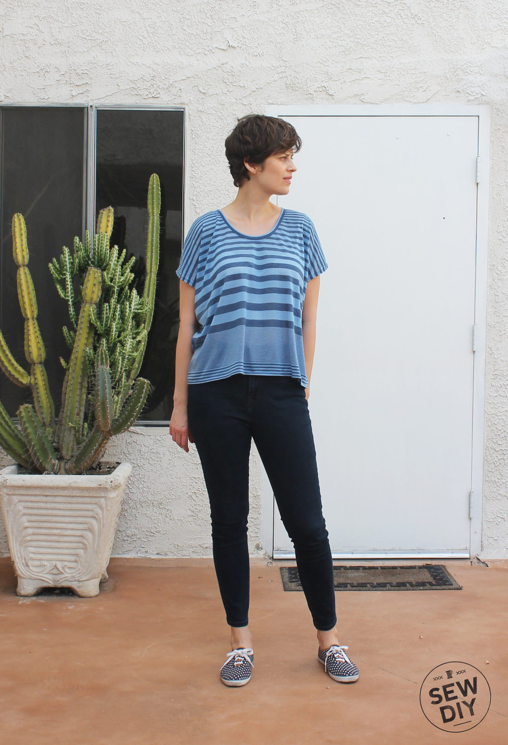 Blue Striped Scoopneck Knit Top Front – Lou Box Top – Sew DIY