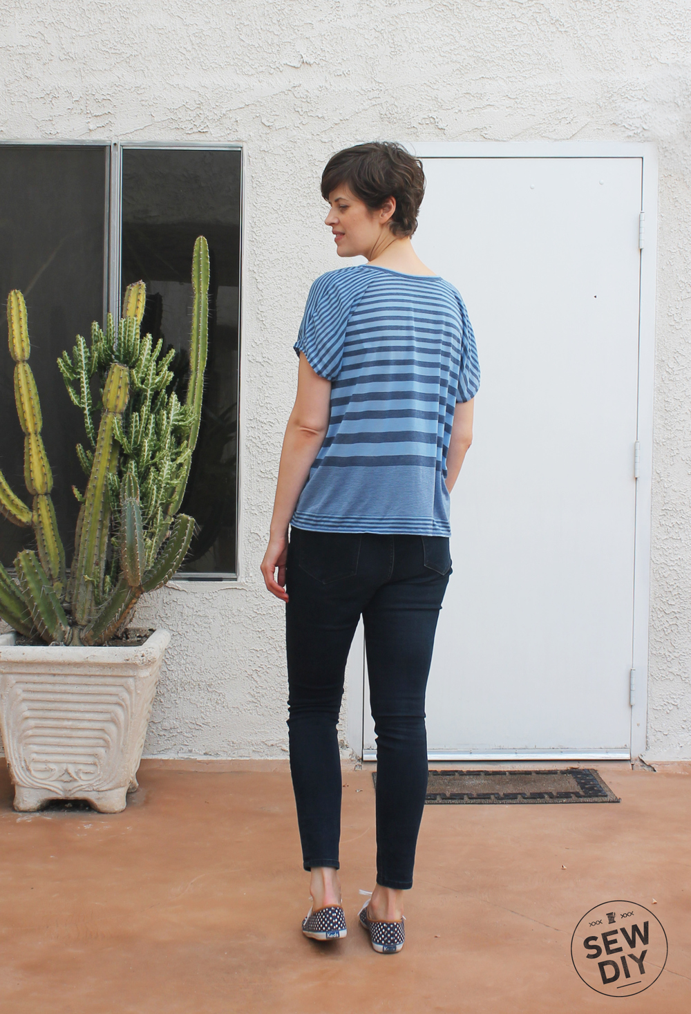 Blue Striped Scoopneck Knit Top – Lou Box Top – Sew DIY