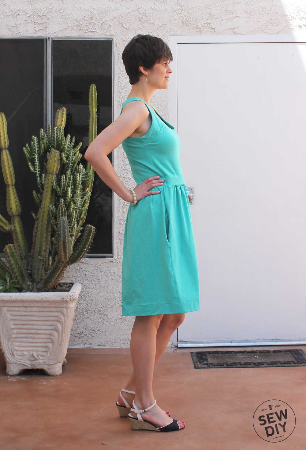 Teal Racerback Knit Dress Simplicity 2443 – Sew DIY