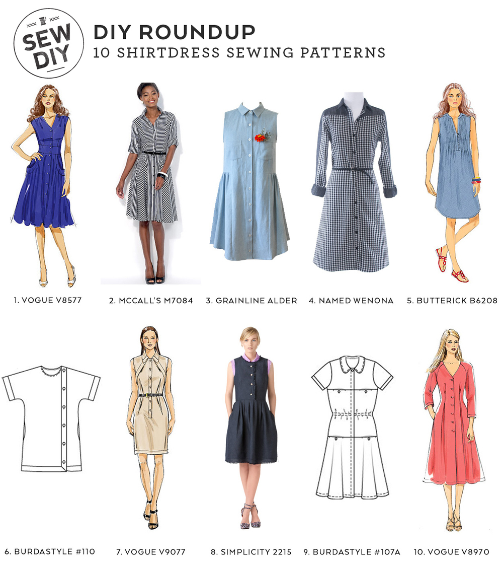 DIY Roundup: 10 Shirtdress Sewing Patterns | Sew DIY