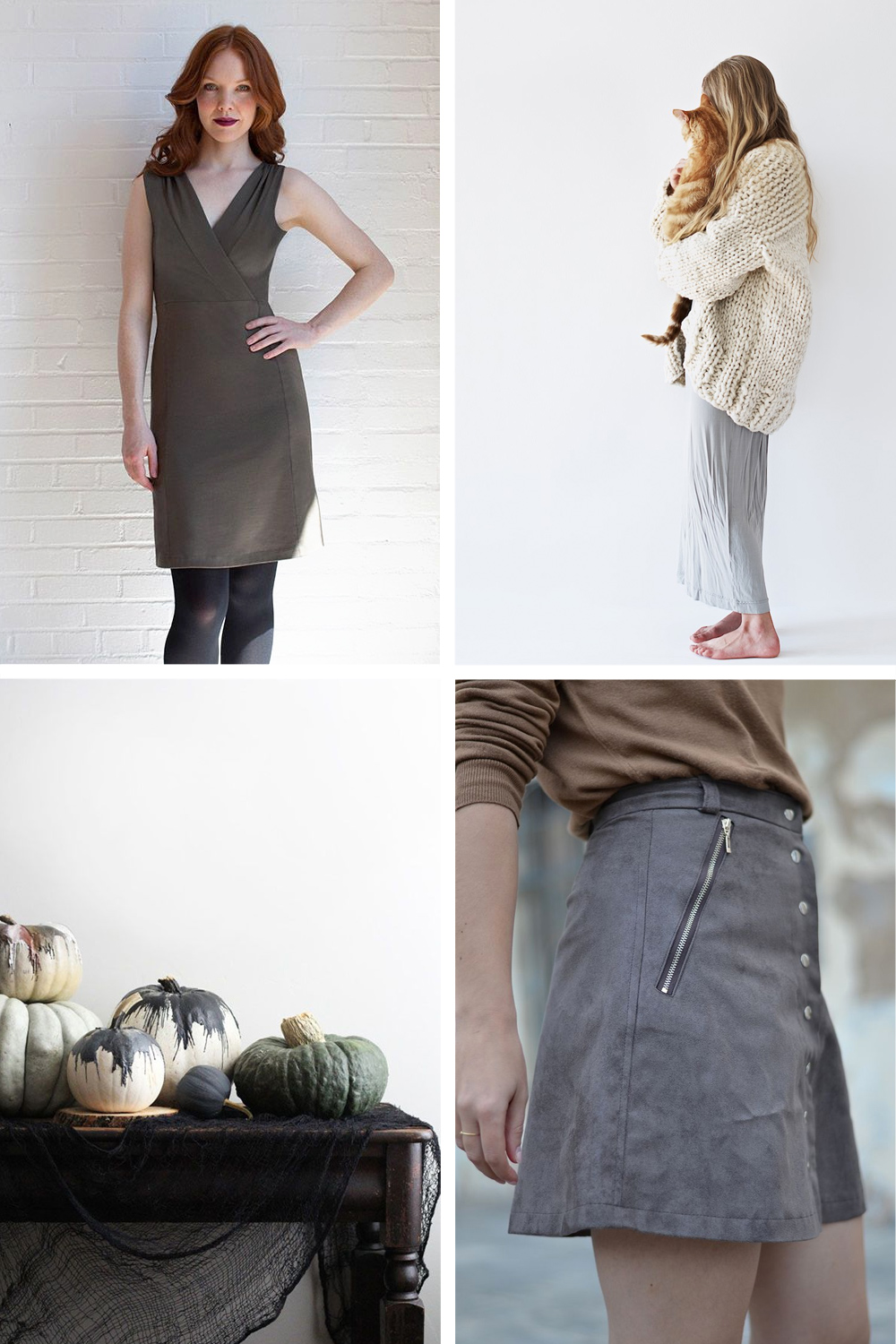 Clockwise from top right: Colette Wren Dress // Chunky Sweater  //  Pauline Alice Rosari Skirt // Waxed Pumpkins