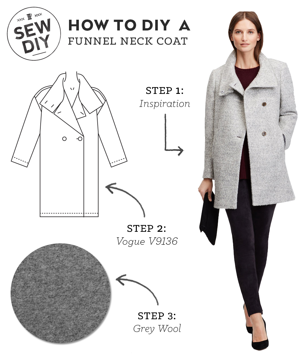 How to DIY a Funnel Neck Wool Coat