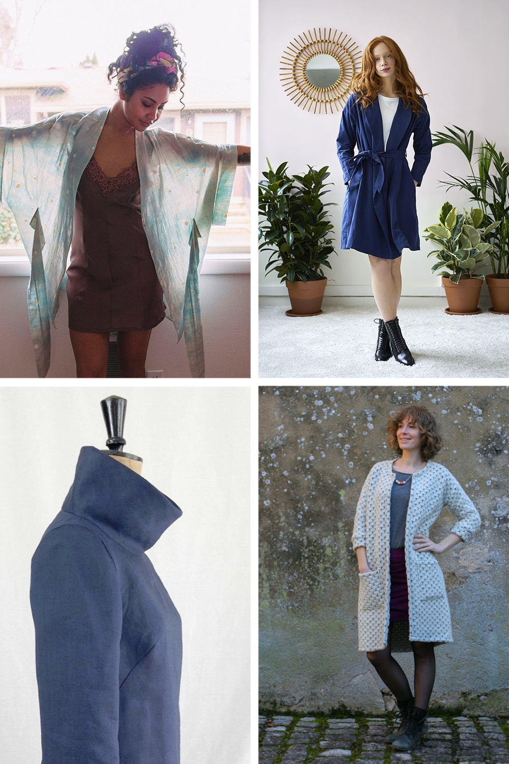 Clockwise from top left: Almada Kimono  //  Wanda Trench Coat  //  Opal Cardigan //  French Dart Shift