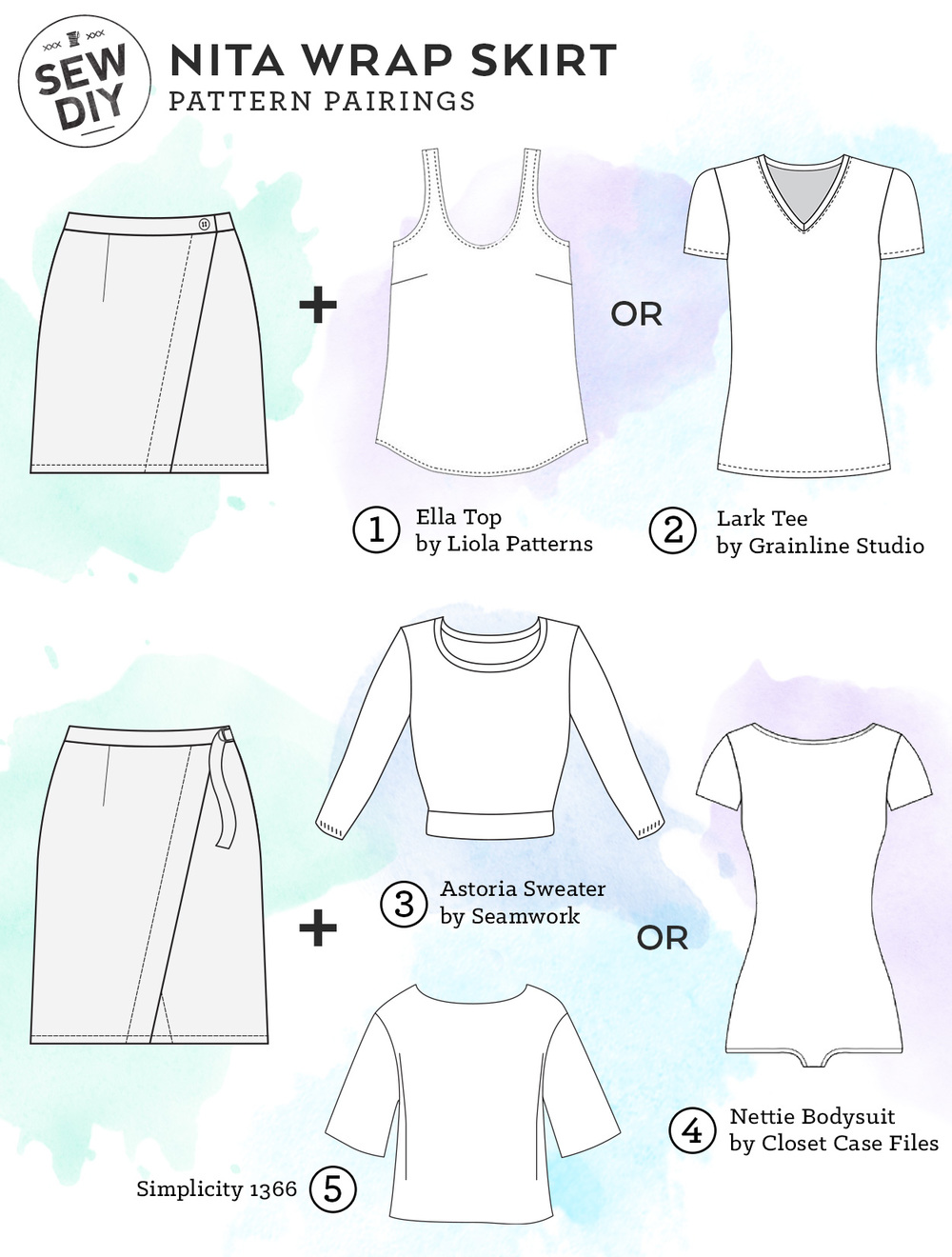 6f0c317e43328 Nita Wrap Skirt Pattern Pairings from Sew DIY. Click to see five perfect  sewing patterns