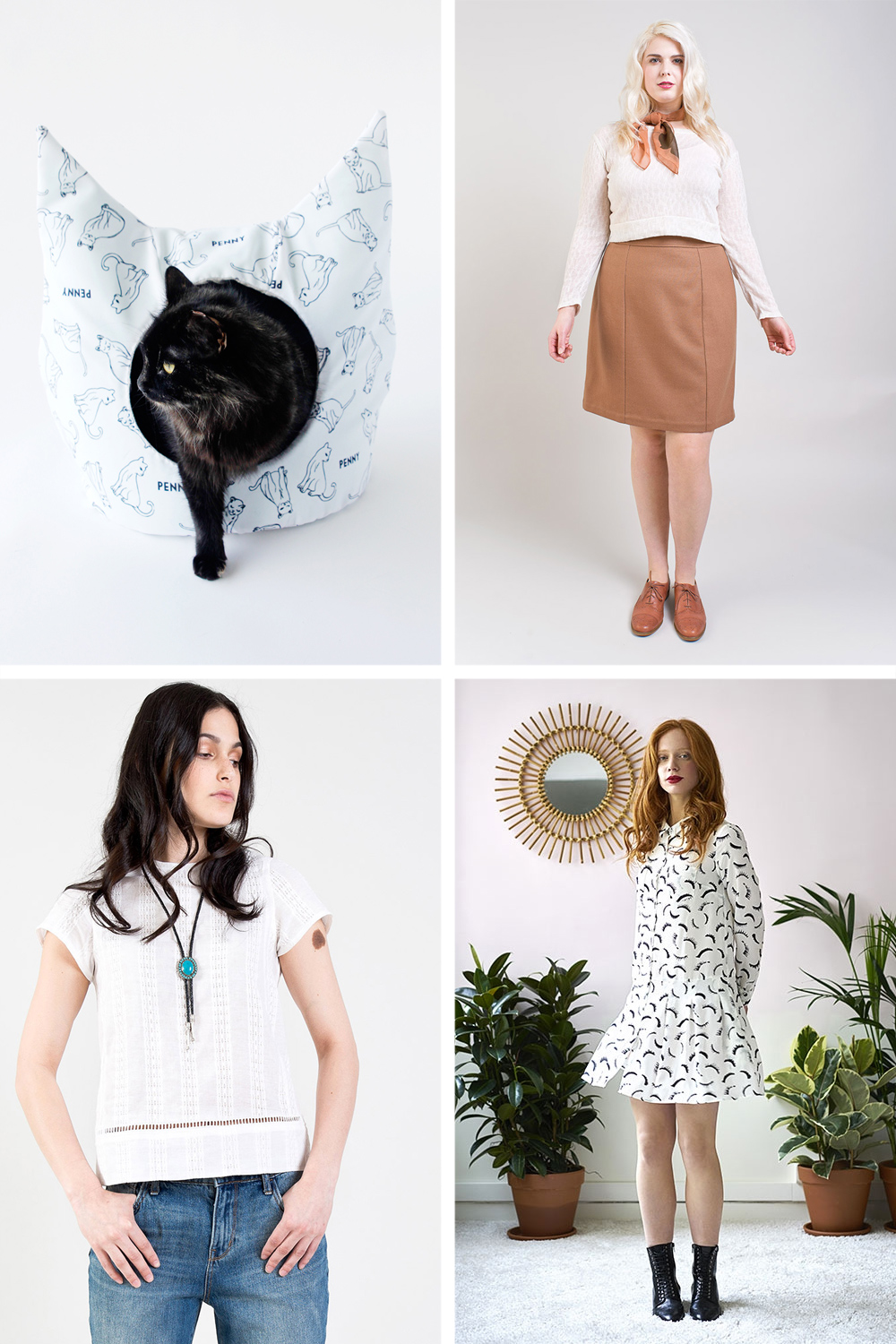 Clockwise from top left: DIY Cat Bed //   Selene Skirt   //   Lena Dress   //   Hayden Top