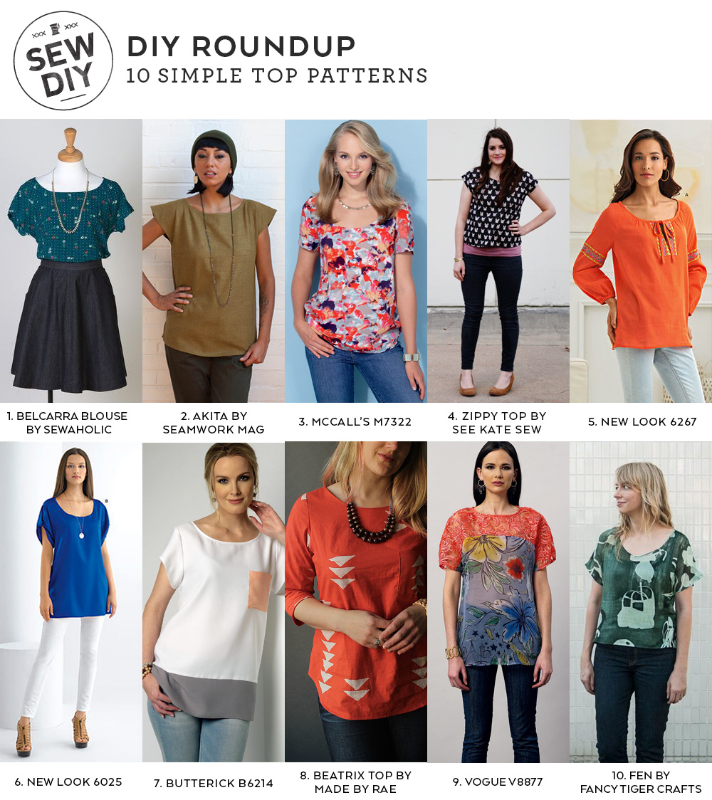 10 Simple Top Sewing Patterns | Sew DIY