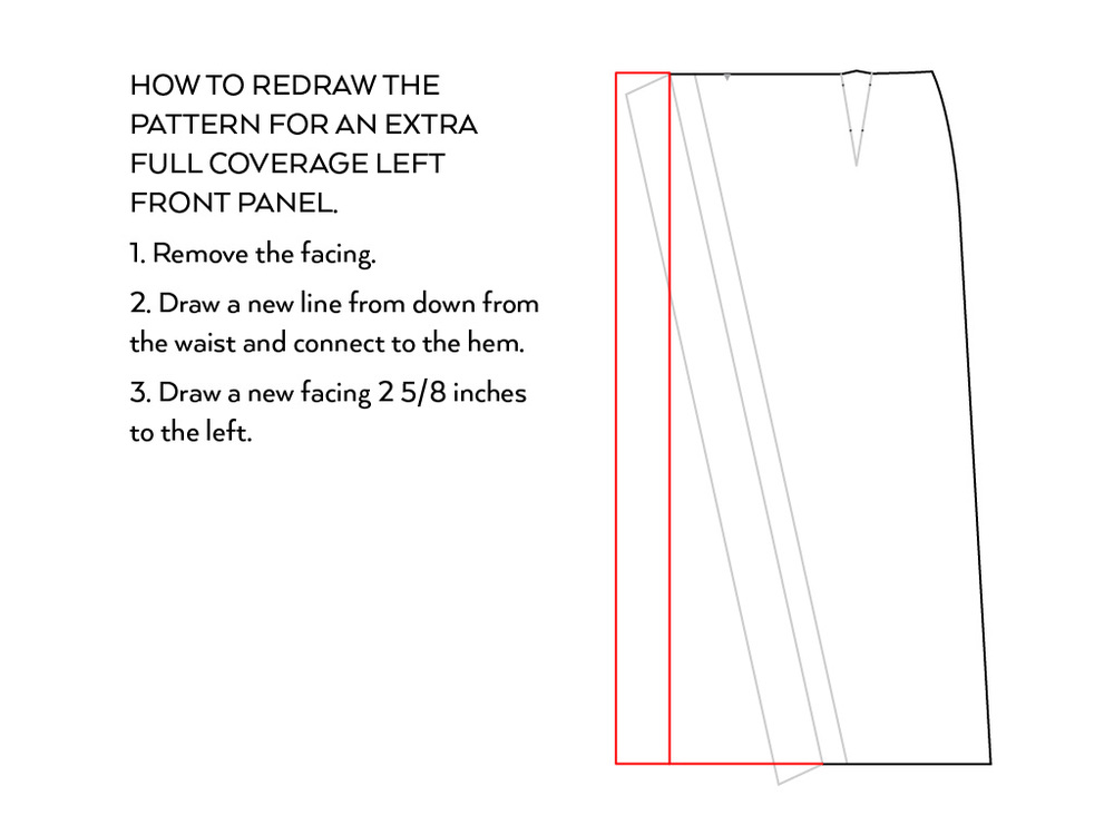 Nita Wrap Skirt Sewalong Day 2: How to redraw the pattern for more coverage | Sew DIY