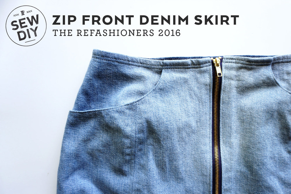 DIY Zip Front Denim Skirt | Sew DIY