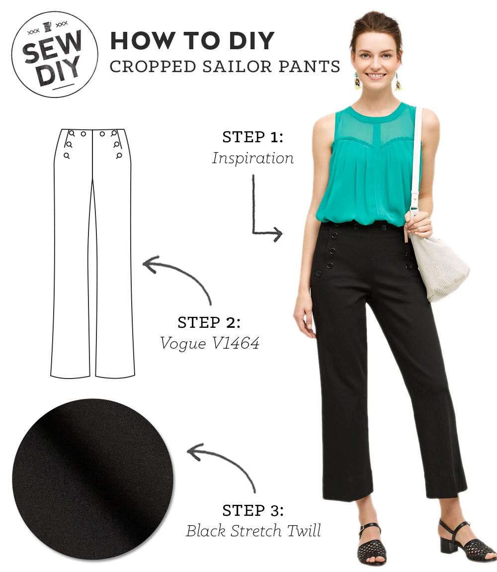 How to DIY Cropped Sailor Pants | Sew DIY