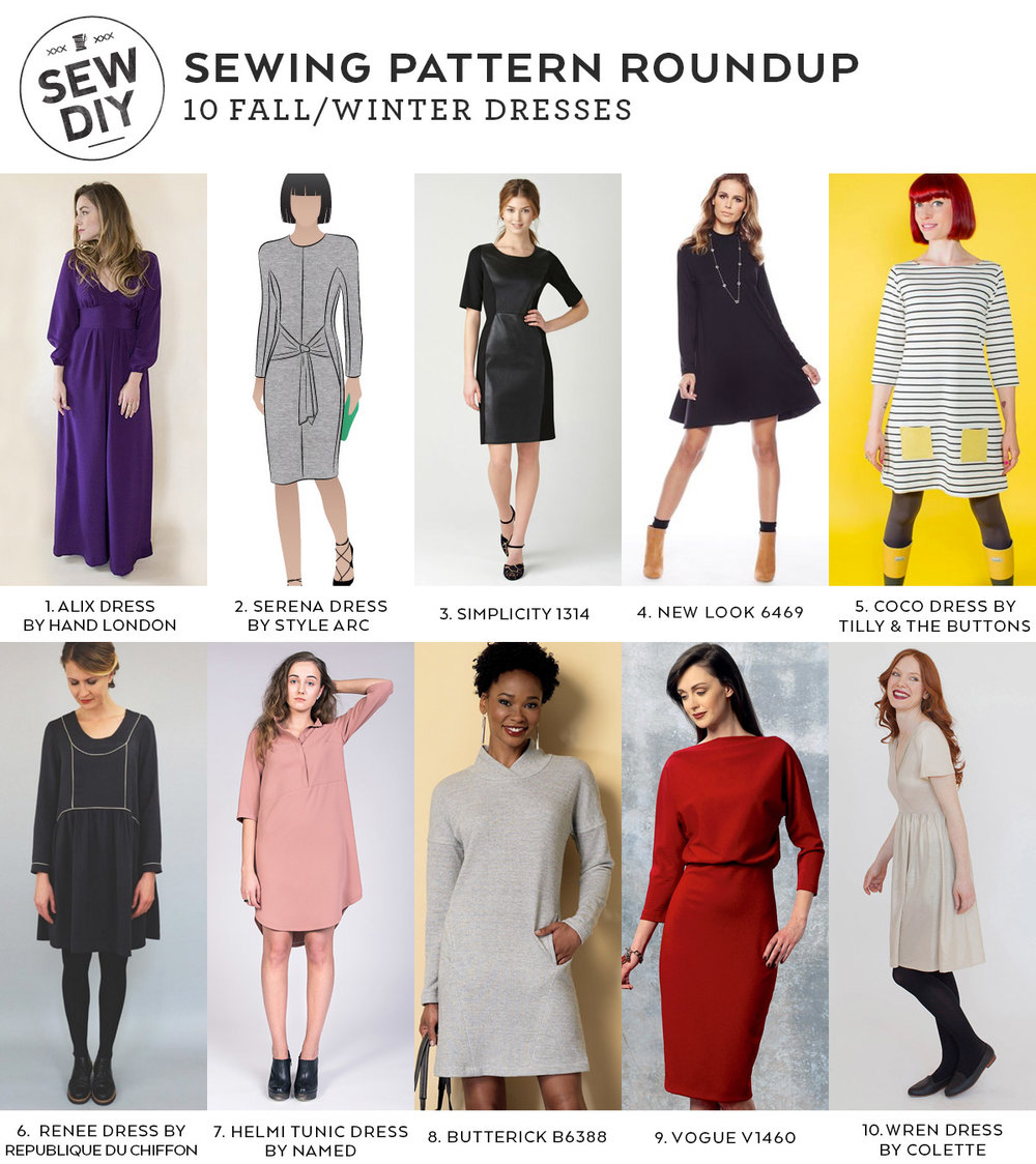 10 Fall/Winter Dresses – Sewing Pattern Roundup — Sew DIY