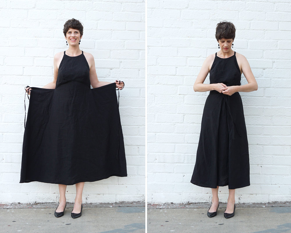 Diy Strappy Black Linen Dress Review Of The Acton Dress Pattern