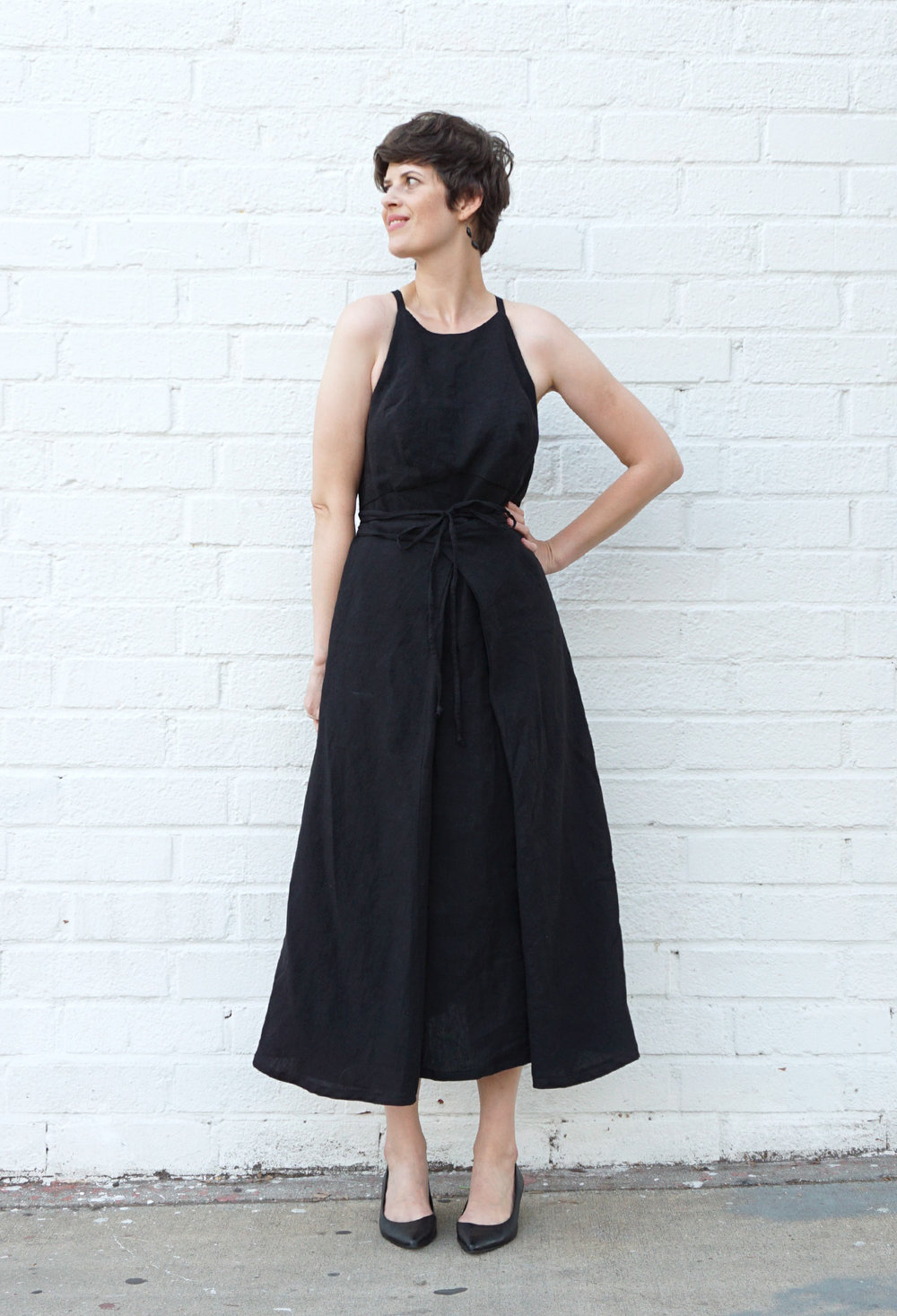 DIY Strappy Black Linen Dress – Review of the Acton Dress pattern ...