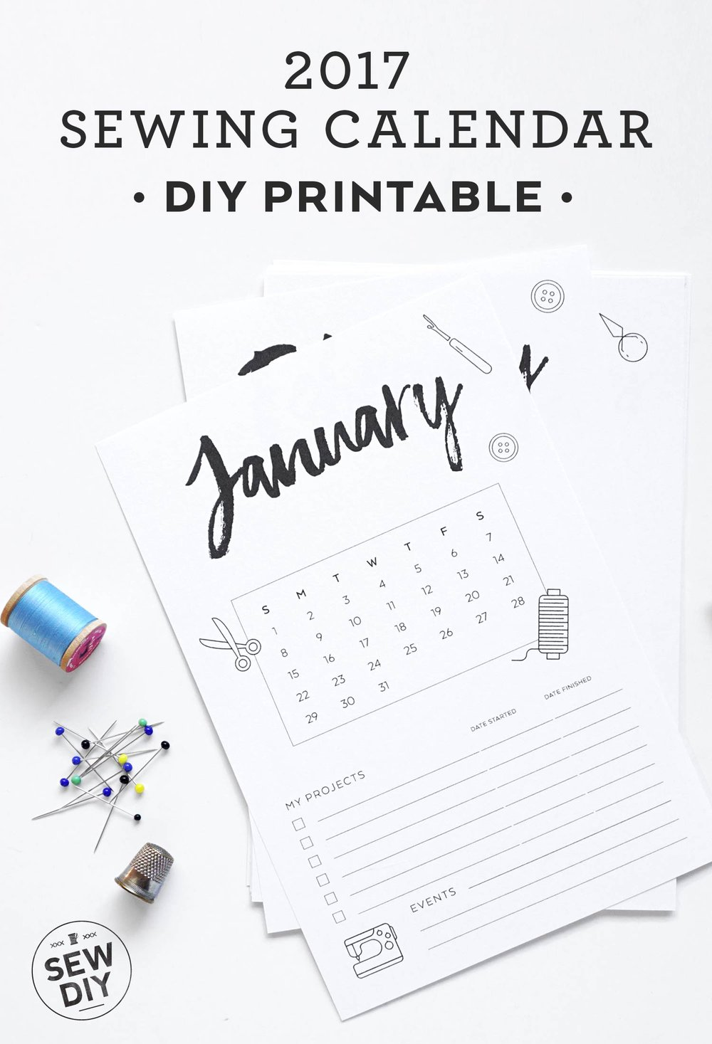 Free DIY Printable 2017 Sewing Calendar | Sew DIY