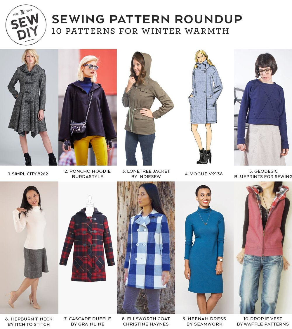 10 Sewing Patterns for Winter Warmth | Sew DIY