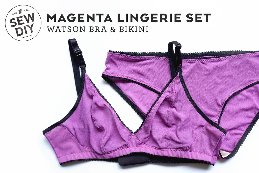 DIY Magenta Lingerie Set. The Watson Bra & Bikini pattern by Cloth Habit | Sew DIY
