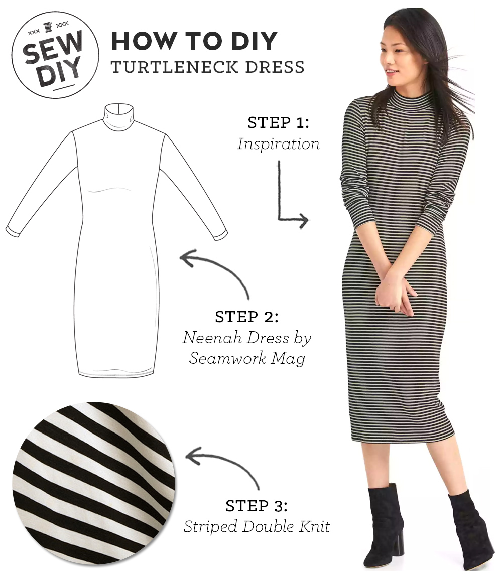 DIY Outfit – Striped Turtleneck Dress | Sew DIY