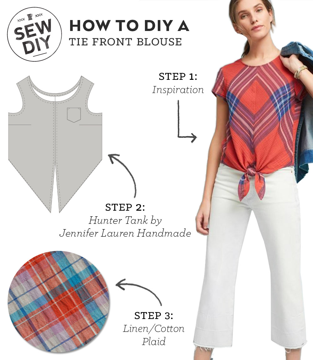 diy outfit tie front top sew diy