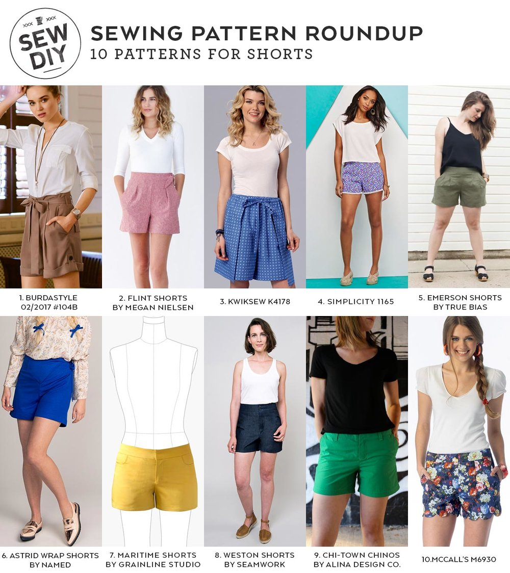 10 Sewing Patterns for Summer Shorts | Sew DIY