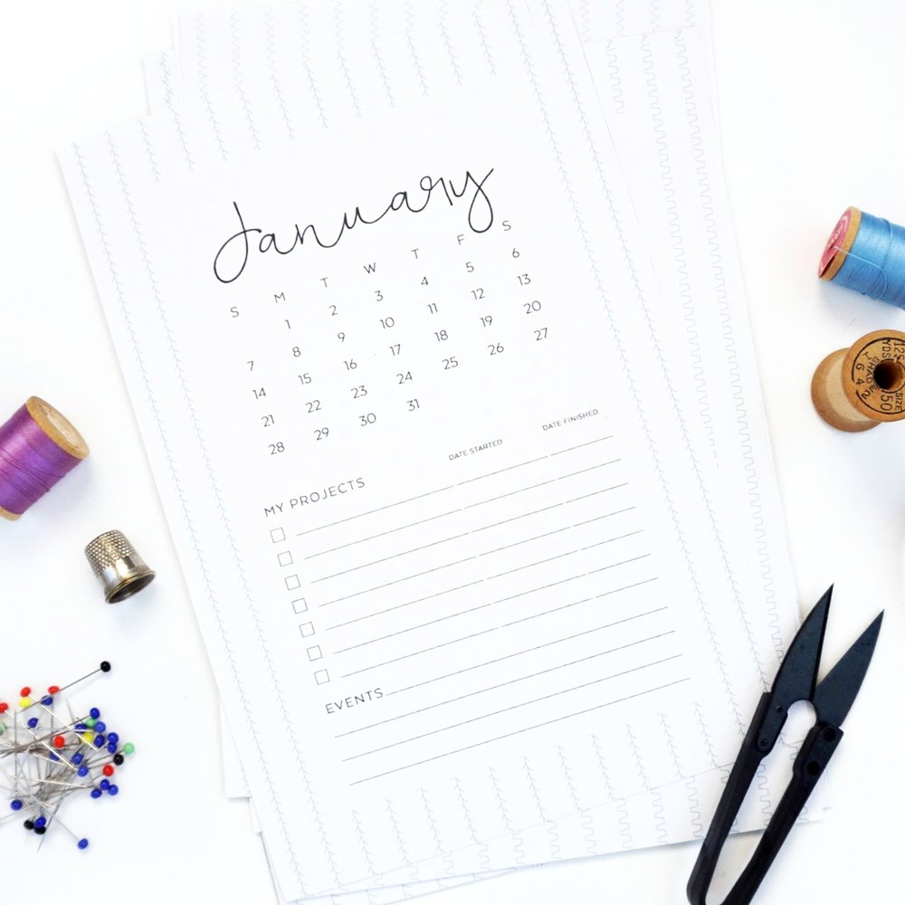 Free Printable 2018 Sewing Calendar