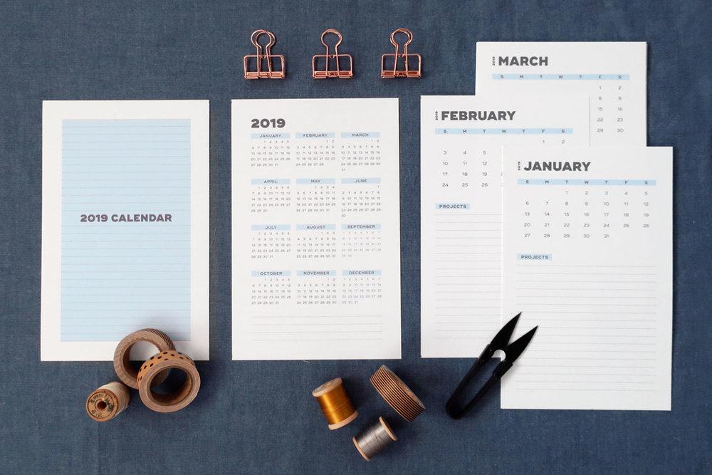 2019 Free Printable Calendar | Sew DIY
