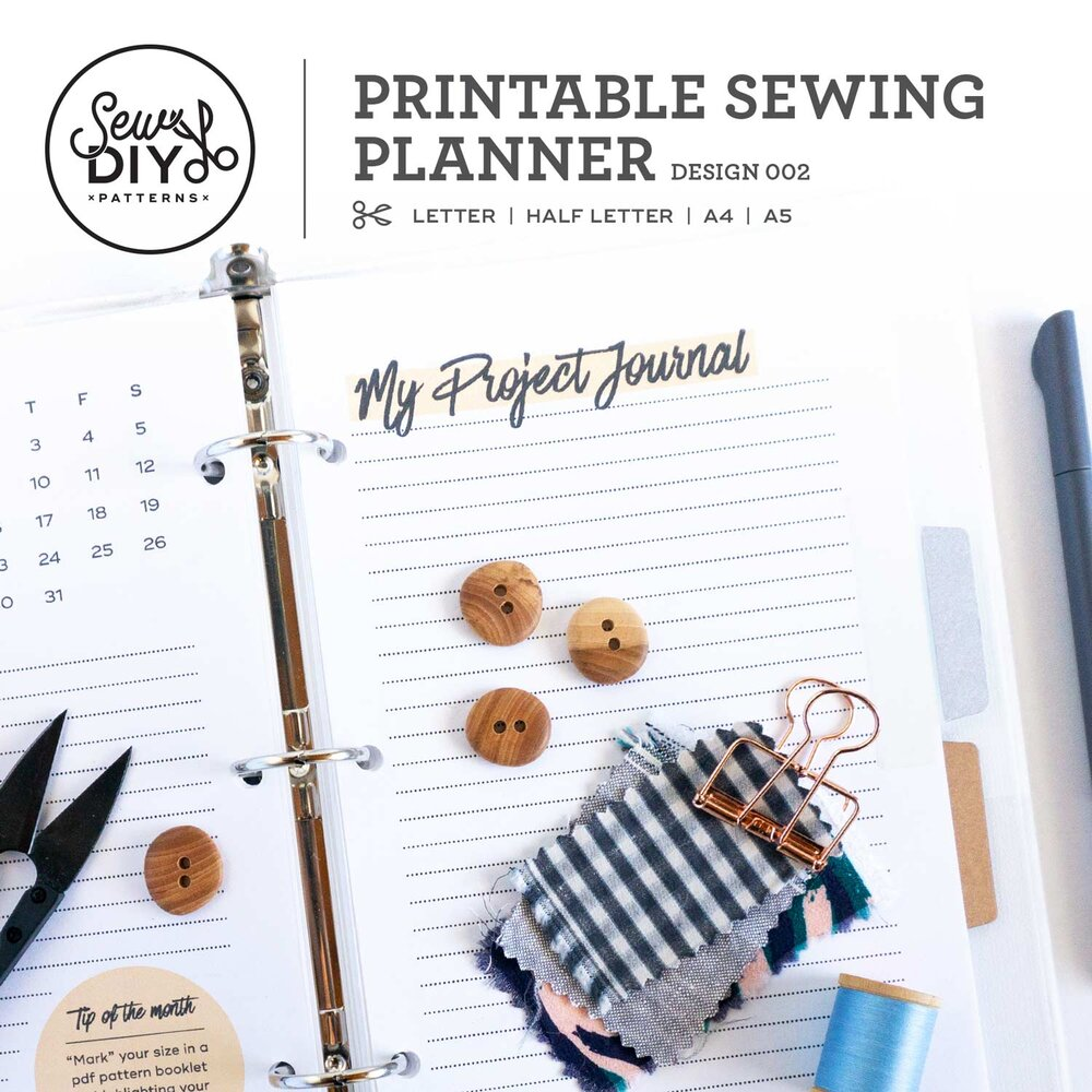 Printable Sewing Planner PDF Download Design 002