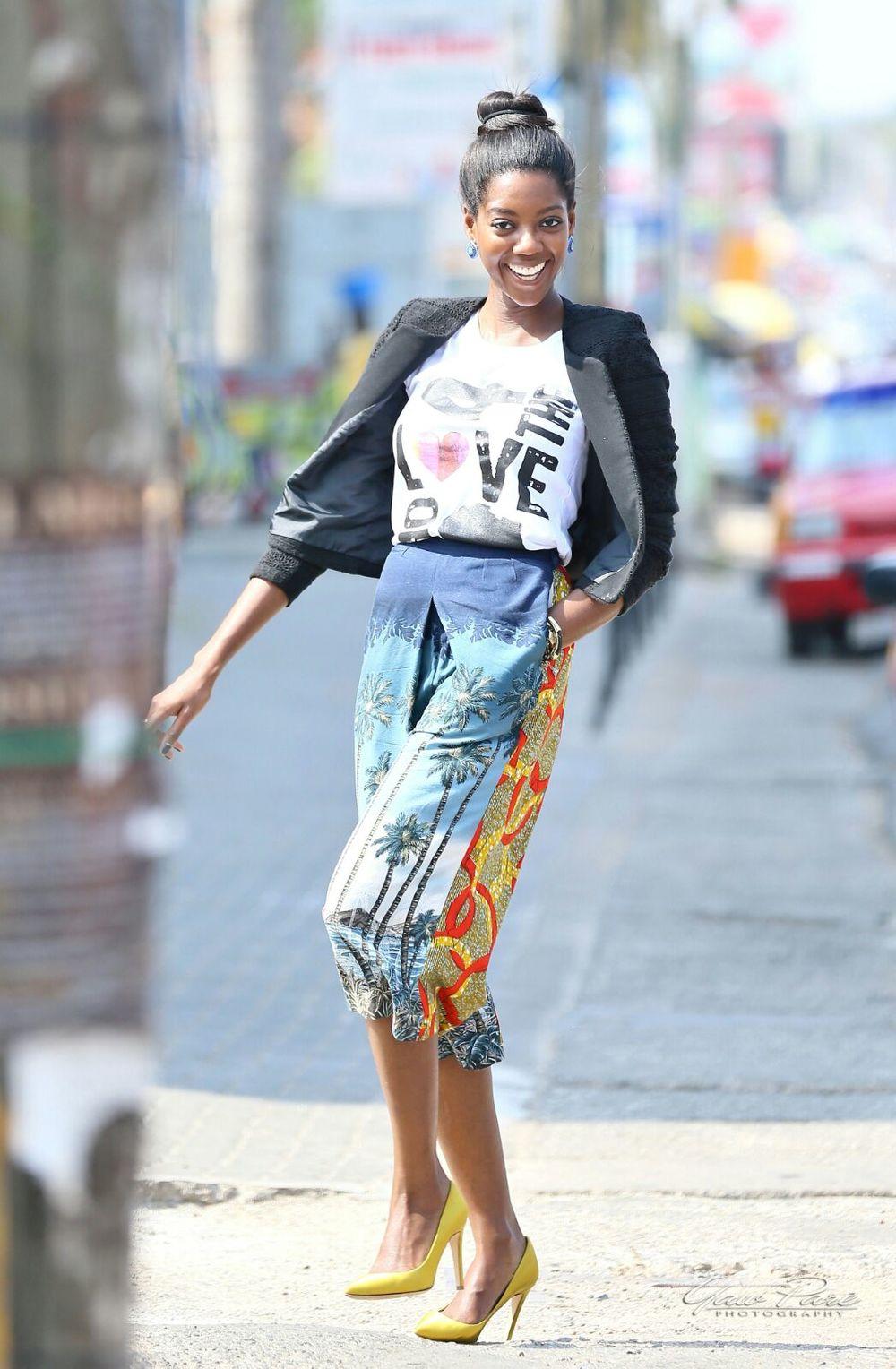 Afua Rida styled by rida Ghanaian stylist Christie brown culottes kayobi t shirt zara jacket j crew shoes 5.JPG