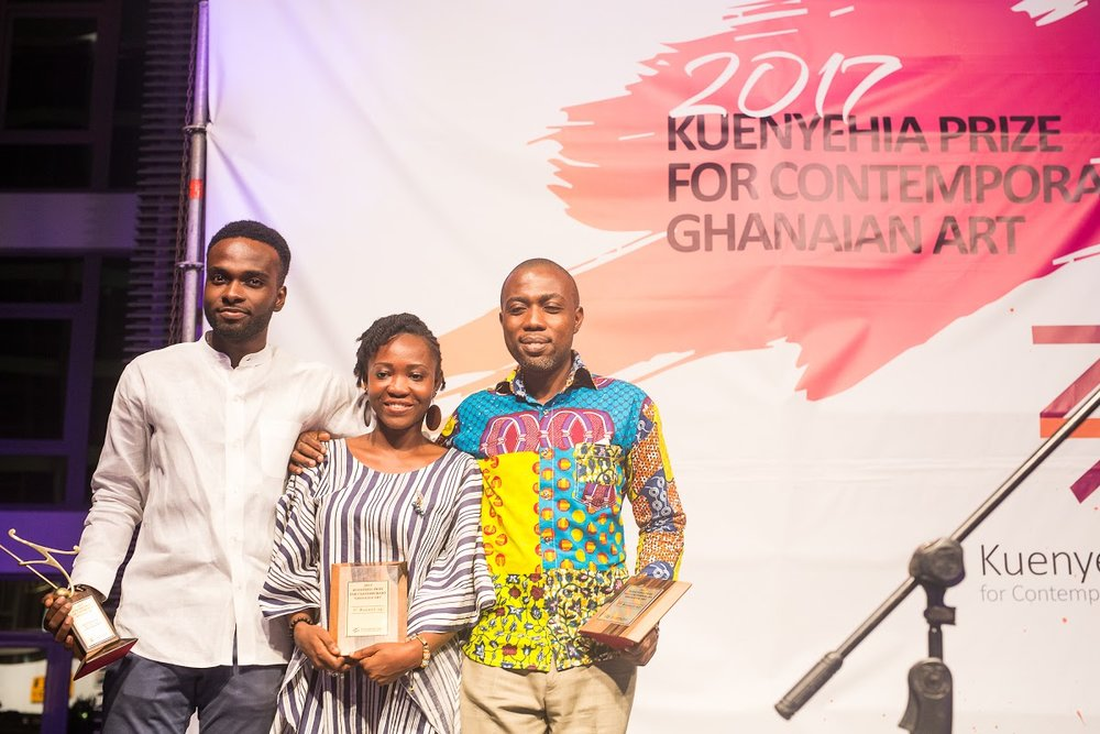 L-R Isaac Opoku (winner), Theresa Ankomah (1st runner up) and Andrews To....jpg