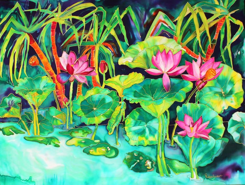 0029 Lotus Flowers with kakadu pandanus .