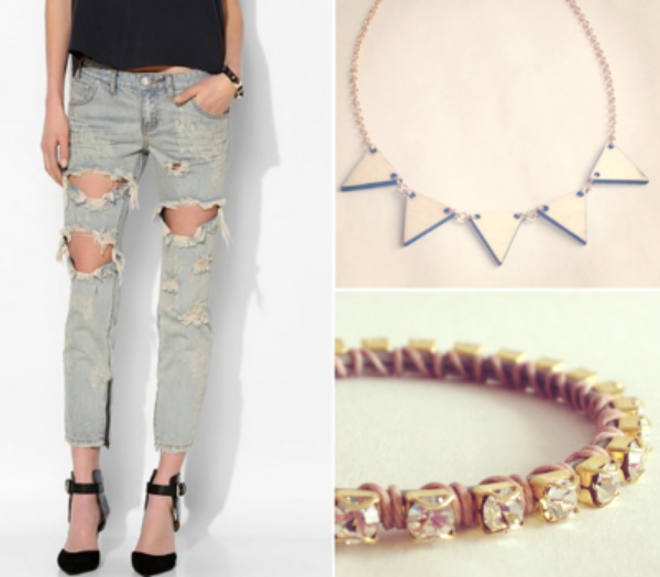 One Teaspoon Freebird Skinny Jean, Urban Outfitters, $149, Vylet Collections H St Necklace, $36