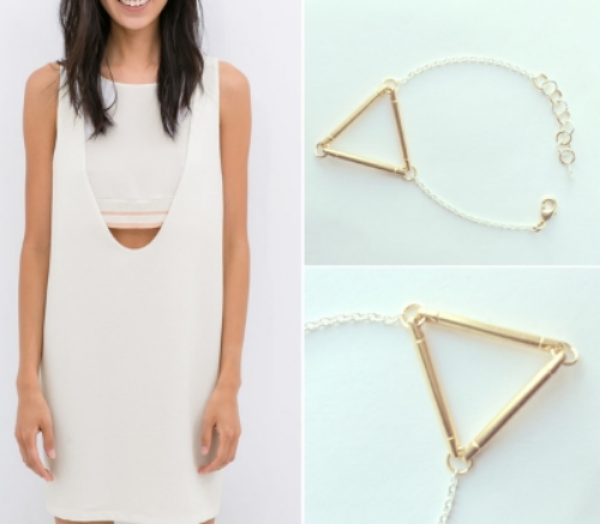 Zara Ribbed Detail Dress, $79, Vylet Collections Geo Bracelet in Two-Tone, $22
