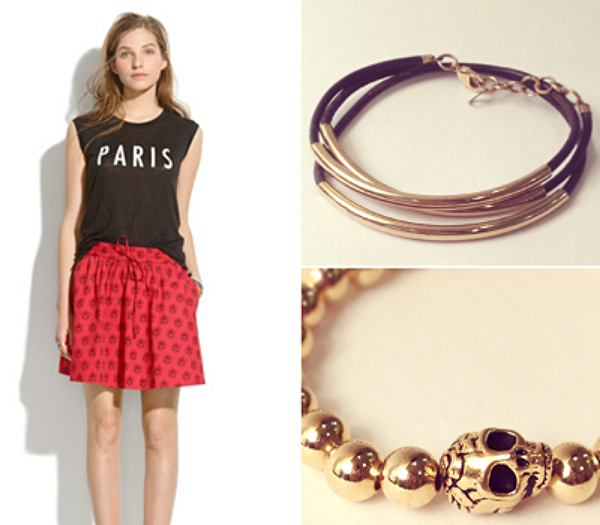 Madewell Linen Paris Muscle Tee, $45, Madewell Turntable Skirt in Redleaf Paisley, $68, Vylet Collections Arizona Bracelet in Deep Blue, $24, Vylet Collections Romeo Bracelet, $30