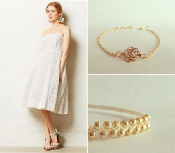 Anthropologie Kaja Dress, $198, Vylet Collections Sophie Rose Bracelet, $36, Vylet Collections Lovewrap in White