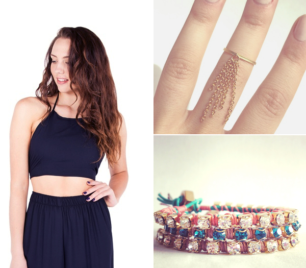 Jac Vanek The Jungle Indio Halter, $29, Vylet Collections The Lily Ring, $20, Vylet Collections Anwar Bracelets, $32 each.