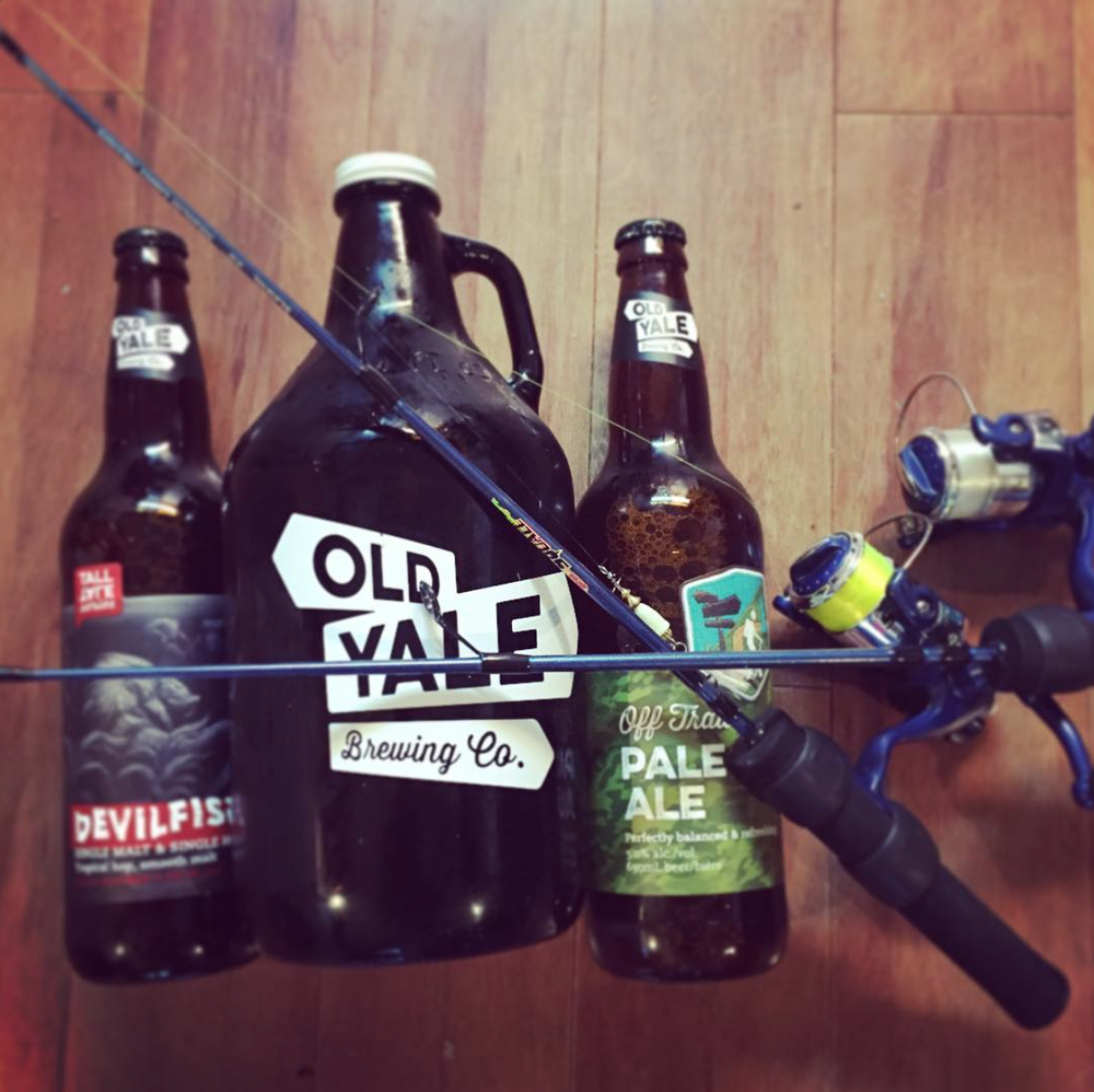 We made sure we had some Old Yale Brewing Co. beer to bring with us to stay warm and some Rapala ice fishing gear to hopefully slay!